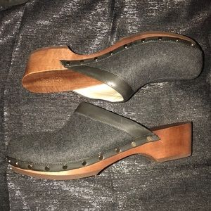 Studded grey clog shoe